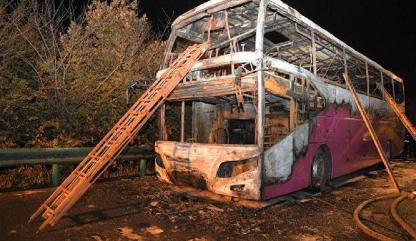 آتش دریافت اتوبوس گردشگران در چین با 26 کشته