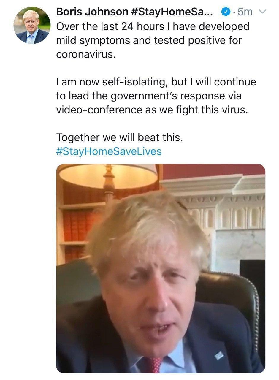 نخست وزیر بریتانیا هم کرونا گرفت